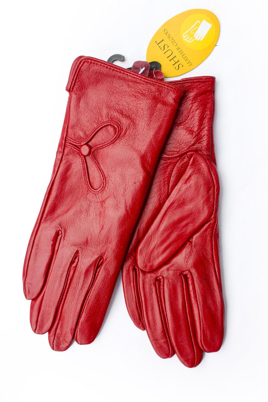 Женские кожаные перчатки  Красные Маленькие