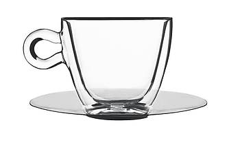 Чашка с двойными стенками и зеркальным блюдцем - 65 мл (Bormiolli Luigi) Espresso cup