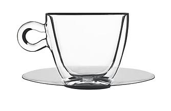 Чашка с двойными стенками и зеркальным блюдцем - 165 мл (Bormiolli Luigi) Cappuccino cup