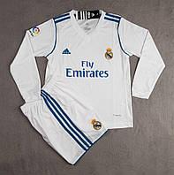 Детская футбольная форма Реал с длинным рукавом сезон 2017-2018 (белая), фото 1