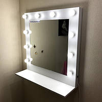 Зеркало макияжное, зеркало с полкой на ДСП размером 800×800 мм.Зеркало с лампой.Мебель на заказ.