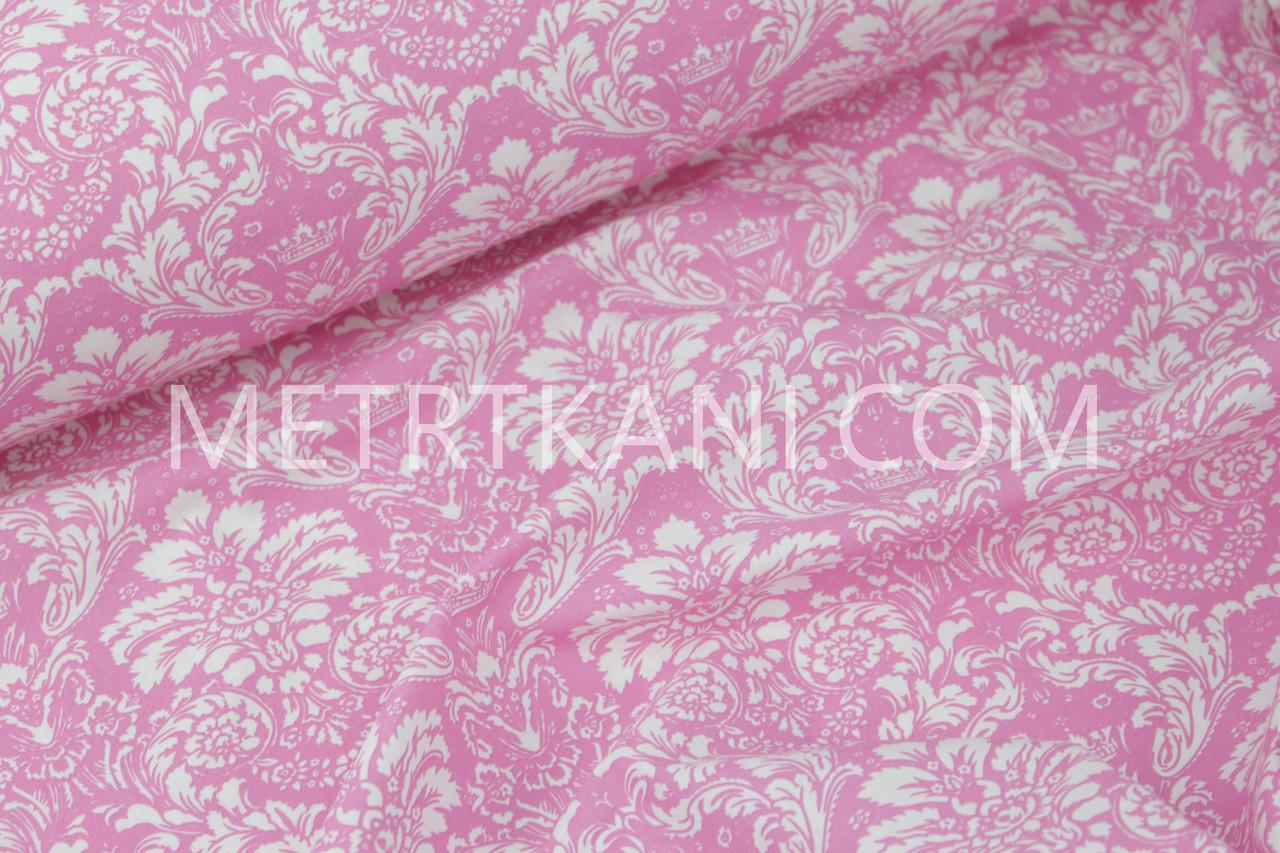 """Ткань  Чешский хлопок """"Дамаск"""" белый на розовом №5-05"""