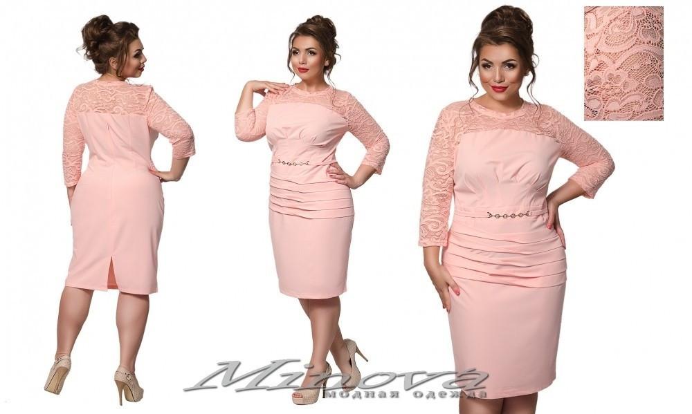 """Стильное женское платье с частичной кружевной отделкой ткань (костюмная)"""" 56 размер батал"""