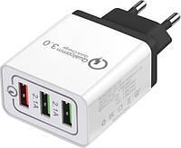 Сетевое зарядное устройство XOKO QC-300 3 USB, Qualcom 3.0, 4.8A Black