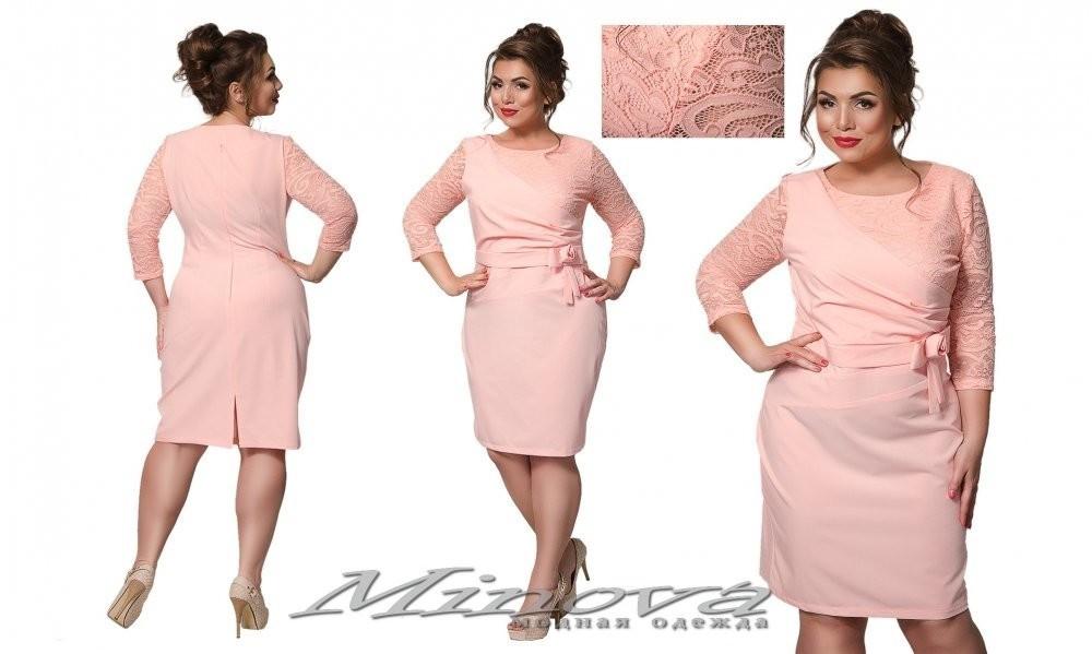 """Стильное женское платье с частичной кружевной отделкой ткань (костюмная)"""" 52 размер батал"""