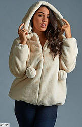 Шубка-куртка короткая молочного цвета размеры 50,52,54,56