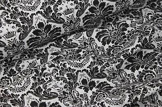 """Ткань хлопковая """"Дамаск""""  чёрный на белом №5-09"""