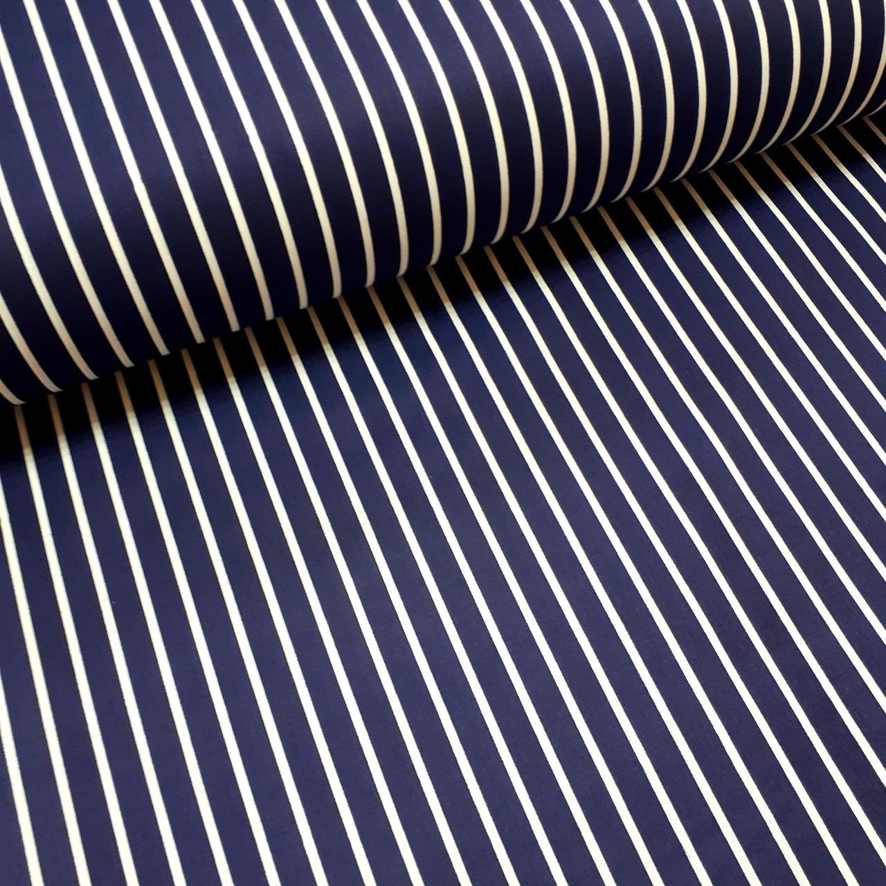 Ткань поплин белая полоска на темно-синем (ТУРЦИЯ шир. 2,4 м) №32-70