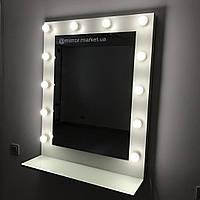 Зеркало для макияжа с подсветкой, зеркало с полкой, 800х1000мм, на ДСП. Гримерное зеркало с лампами.