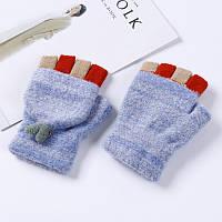 Женские варежки с открытыми пальцами голубые опт, фото 1