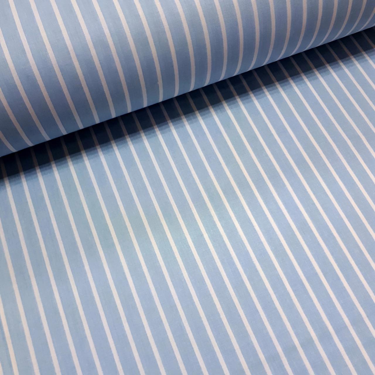 Ткань поплин белая полоска на голубом (ТУРЦИЯ шир. 2,4 м) №32-73