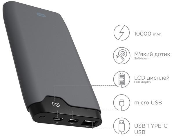 Power Bank ERGO LP-K10 - 10000 mAh Li-pol c micro USB и TYPE-C Rubber (Grey)