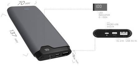 Power Bank ERGO LP-K10 - 10000 mAh Li-pol c micro USB и TYPE-C Rubber (Grey), фото 3