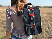 Кожаный женский городской рюкзак  | Синий-Коралл