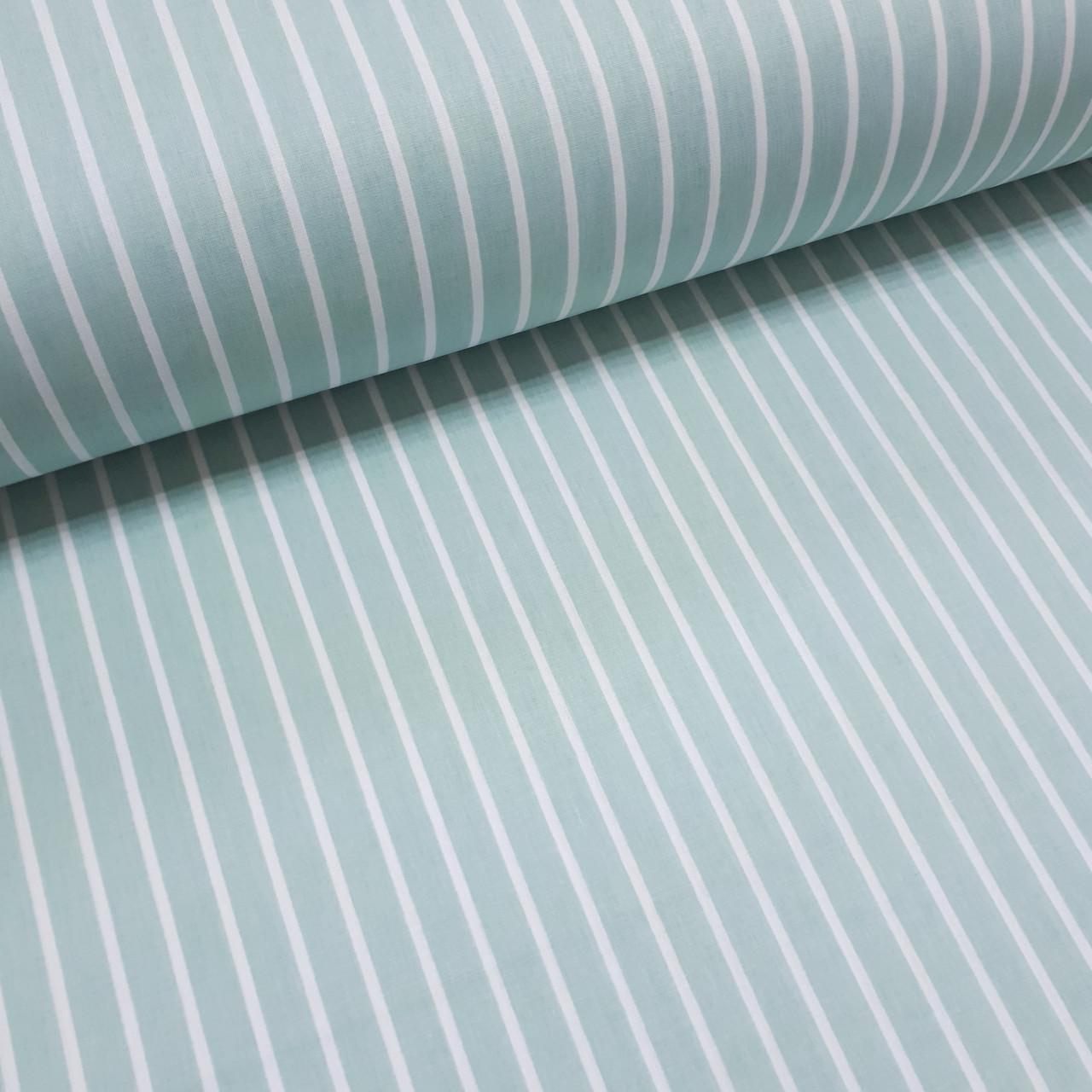 Ткань поплин белая полоска на мятном (ТУРЦИЯ шир. 2,4 м) №32-74