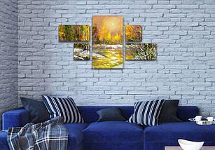 Модульная картина Оттепель  на Холсте, 80x140 см, (25x45-2/25х25-2/80x45), фото 3