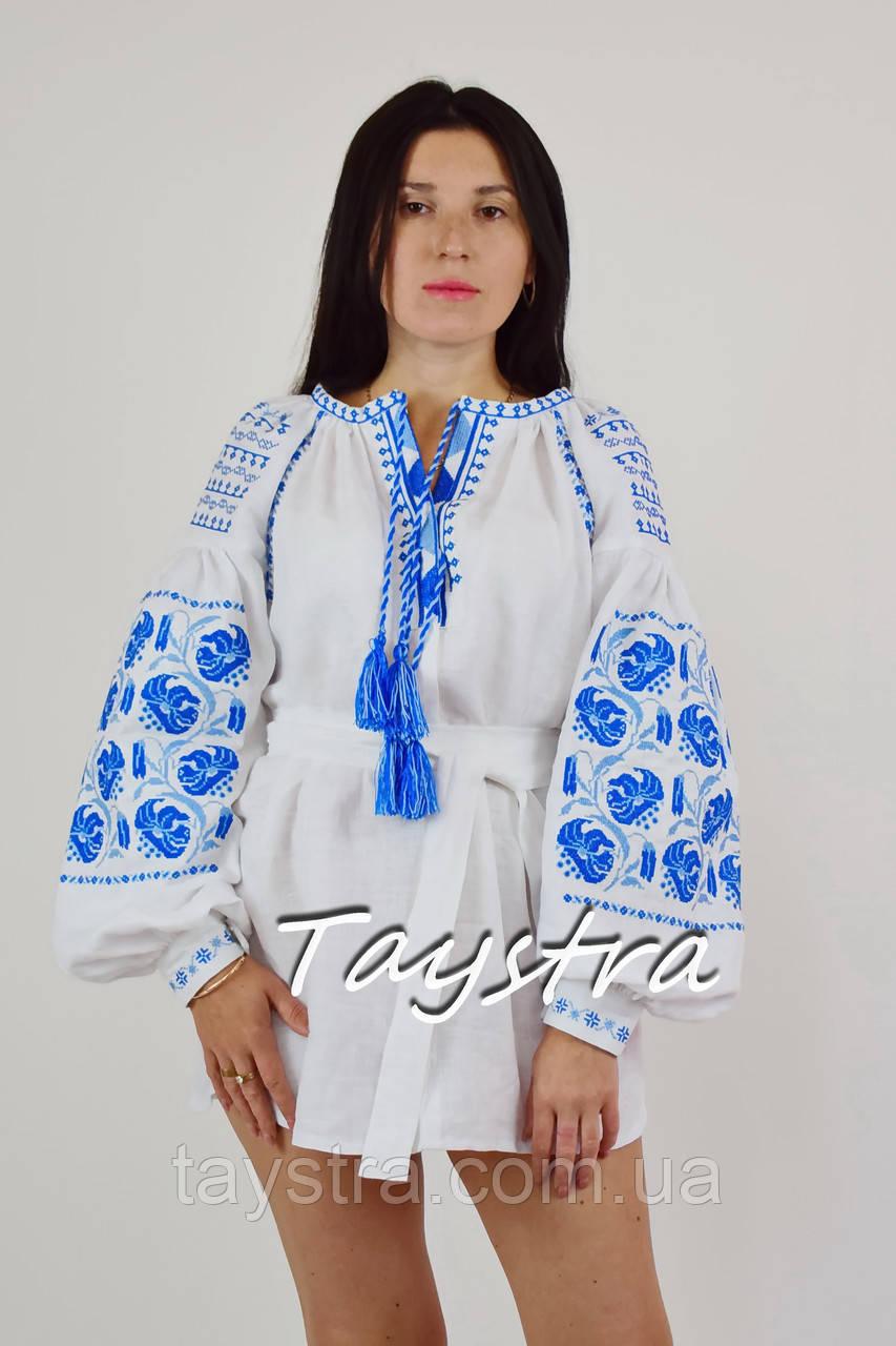 Белая туника вышиванка лен, этно стиль бохо шик, вишита туніка вишиванка