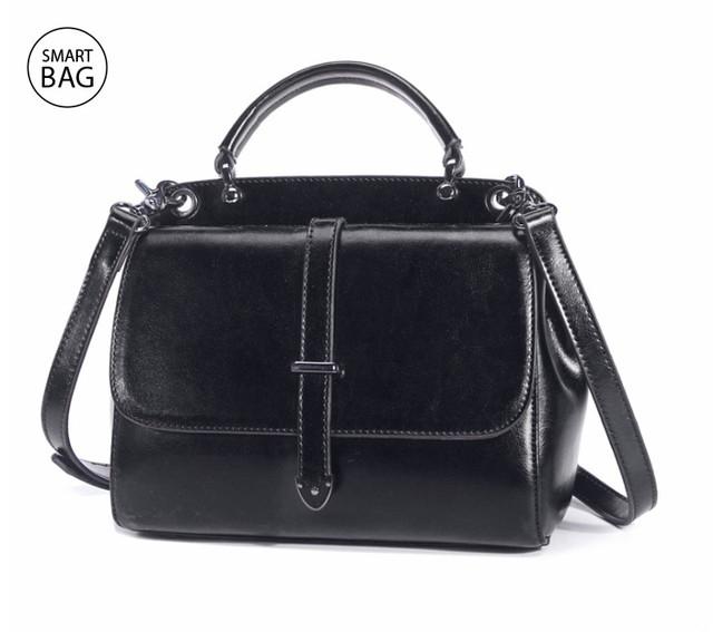 Женская повседневная кожаная сумка | черная