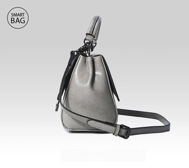 Женская повседневная кожаная сумка | серая