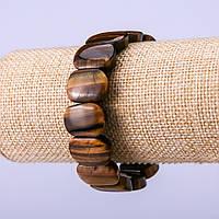 Браслет из натурального камня Тигровый глаз 18х13мм обхват 18 см на резинке