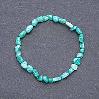 Браслет из натурального камня Амазонит галтовка d-5мм обхват 18 см на резинке