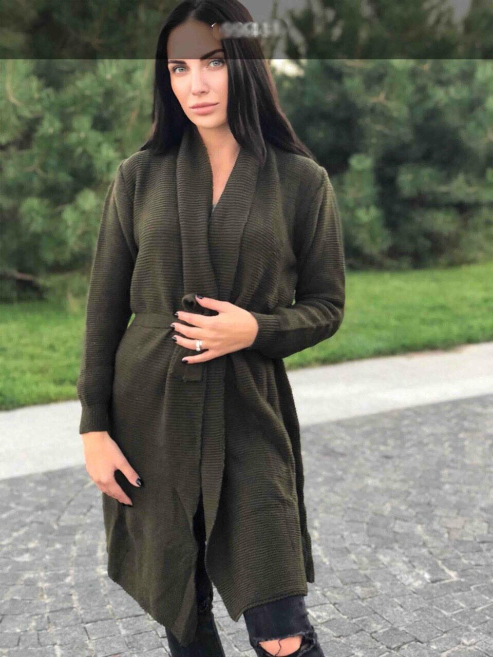 """Модный женский кардиган из """"Мягкой вязки"""" с поясом размер 48 размер норма"""