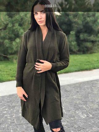 """Модный женский кардиган из """"Мягкой вязки"""" с поясом размер 48 размер норма, фото 2"""
