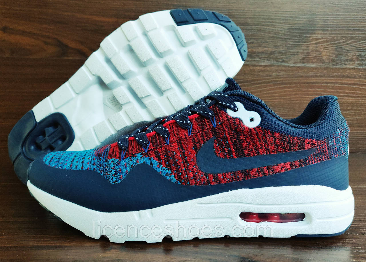 Синие с красным мужские кроссовки Nike Air Max 1 Flyknit. РАСПРОДАЖА