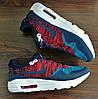Синие с красным мужские кроссовки Nike Air Max 1 Flyknit. РАСПРОДАЖА, фото 2