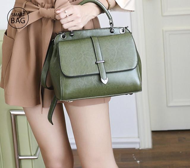 Женская повседневная кожаная сумка | зеленая