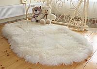 Ковер из овечьих шкур ОВАЛ, белый, 210*120см