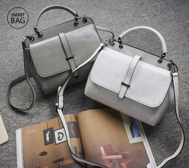 Женская повседневная кожаная сумка | белая