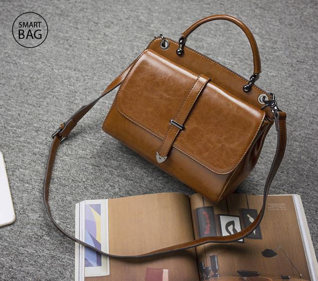 Женская повседневная кожаная сумка | коричневая