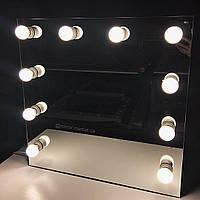 Зеркало для визажиста, зеркало без рамы, 800х800мм. Голливудское зеркало с лампами. Мебель под заказ.