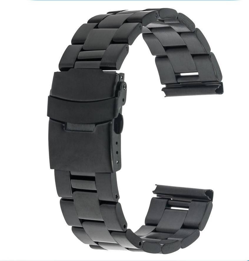 Браслет для часов из нержавеющей стали, литой, черный. 24 мм
