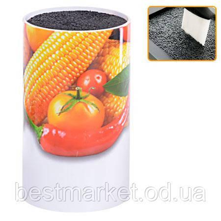 Подставка для ножей  настольная 11 х 9 см (рисунок фрукты и овощи)