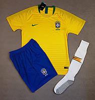 Детская футбольная форма сборной Бразилии сезон 2018 (желтая)