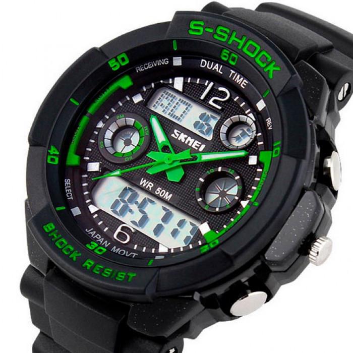 Мужские часы Skmei S-Shock Green Оригинал + Гарантия!