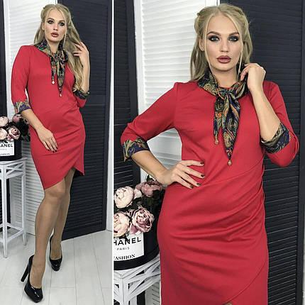 """Комфортное женское платье с атласным шарфиком """"Французский трикотаж"""" 52 размер баталы, фото 2"""