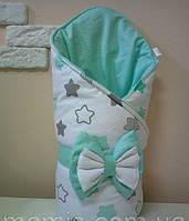 Теплый конверт Одеяло на выписку зима 80х90см бело/бирюзовый