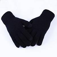 Перчатки женские черные однотонные осень-зима опт, фото 1