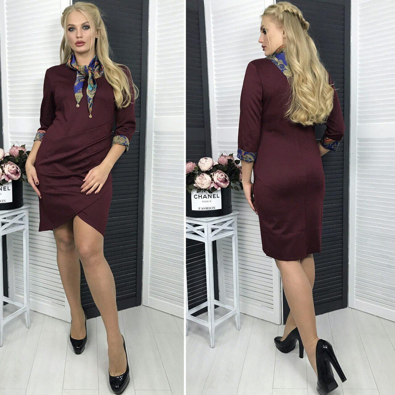 """Комфортное женское платье с атласным шарфиком """"Французский трикотаж"""" q 54 размер баталы"""
