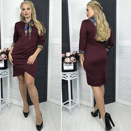"""Комфортное женское платье с атласным шарфиком """"Французский трикотаж"""" q 54 размер баталы, фото 2"""