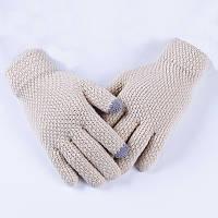 Перчатки женские однотонные осень-зима бежевые опт, фото 1