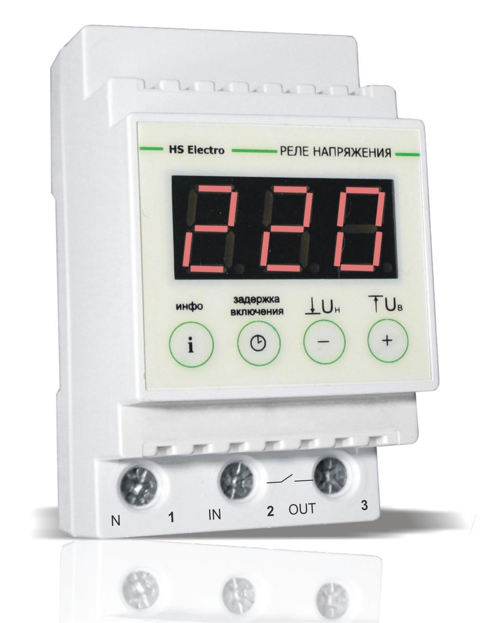 Пристрій контролю напруги УКН-63с дін-рейка Термозахист HS ELECTRO ( ГАРАНТІЯ 5 РОКІВ)