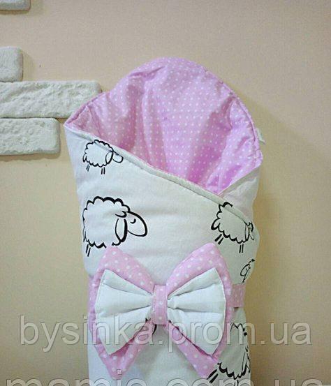 Теплый конверт Одеяло на выписку зима 80х90см бело/розовый