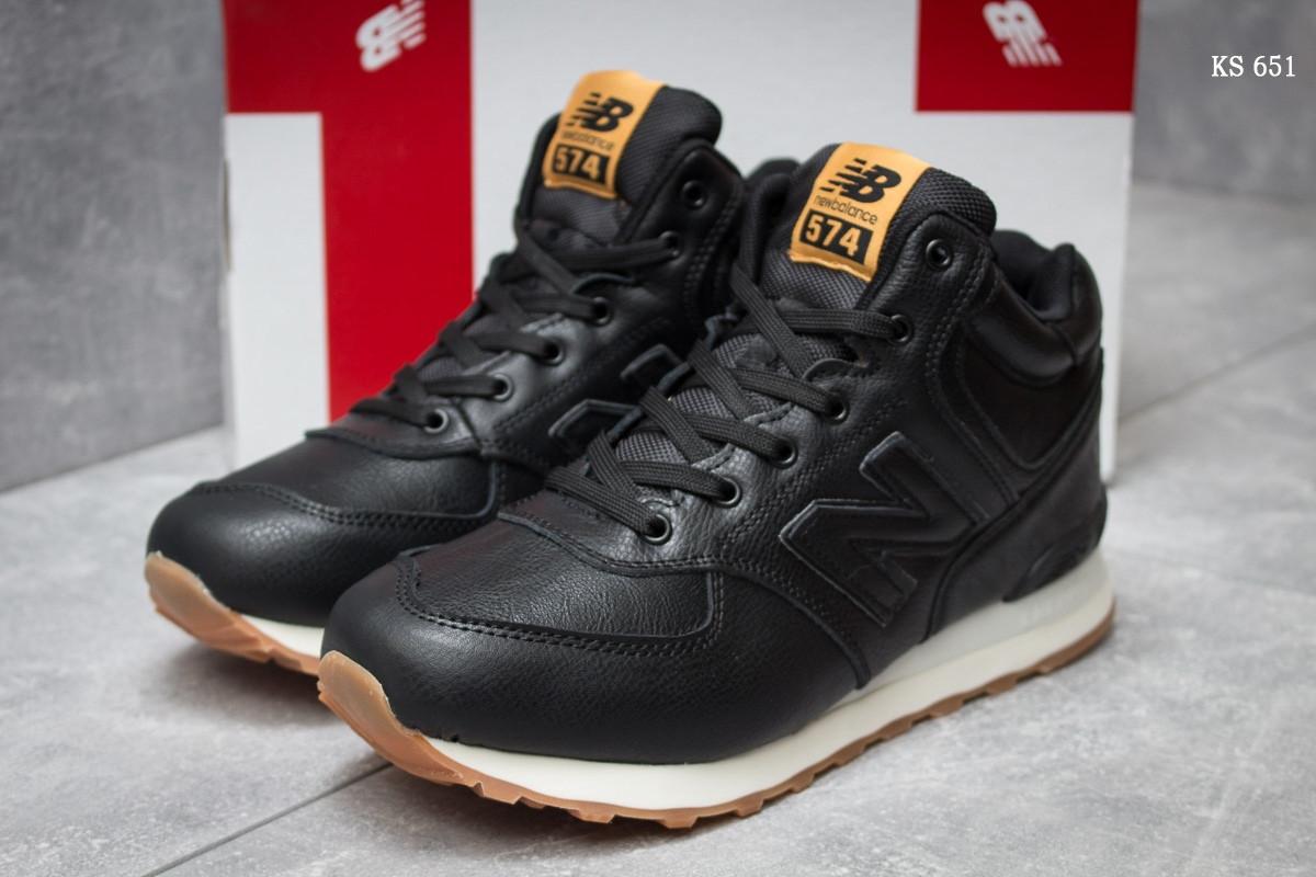 25a711eaca8e Мужские зимние кроссовки New Balance 574 реплика ( кожа, мех искусственный)  черно белые -