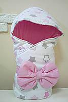 Конверт Одеяло с капюшоном на выписку зима 80х80см бело/розовый звезды