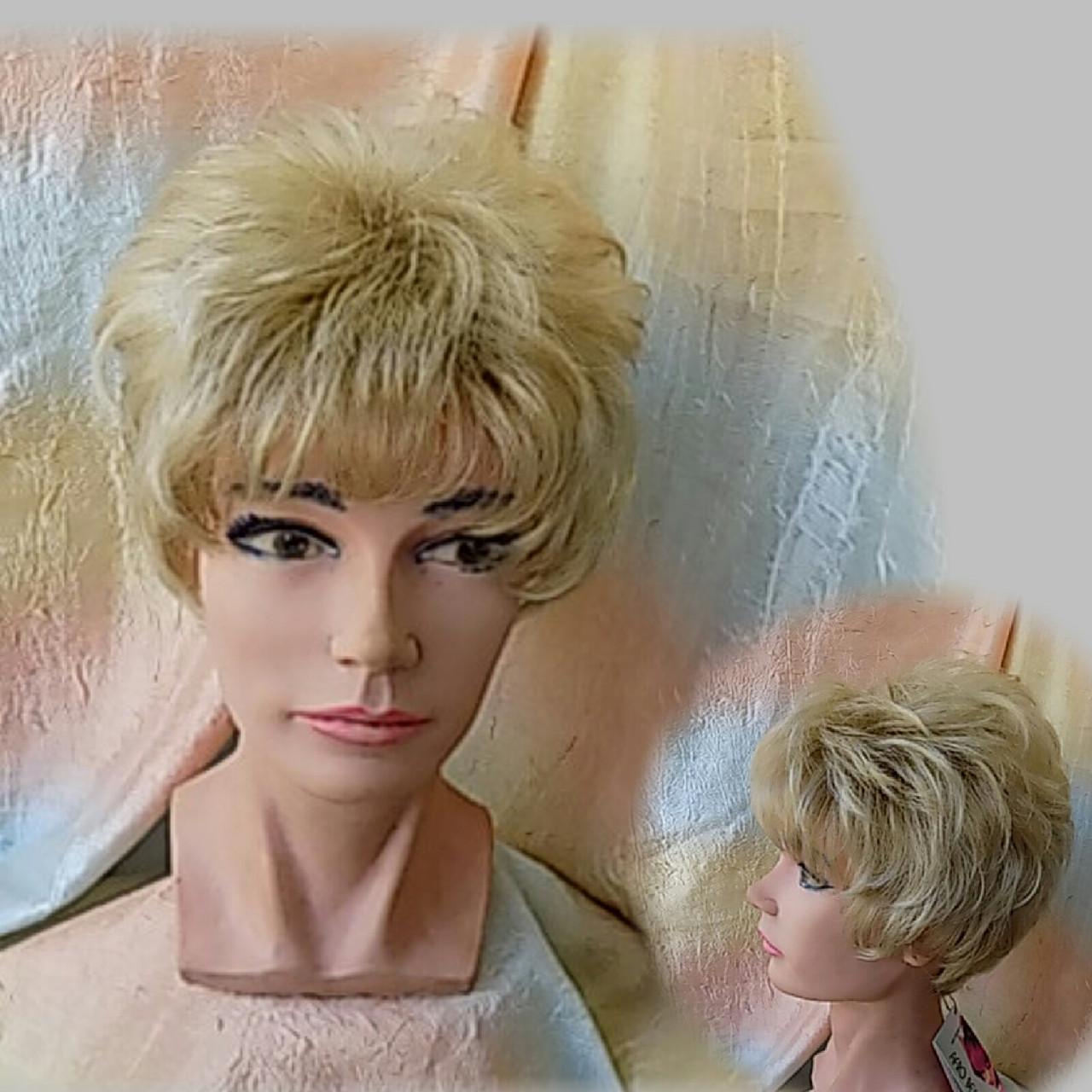 Парик короткий кудрявый платиновый блонд  ZINA-16Н613