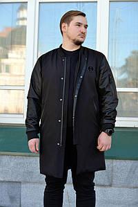 Бомбер Arvisa мужской удлиненный куртка пальто френч черного цвета